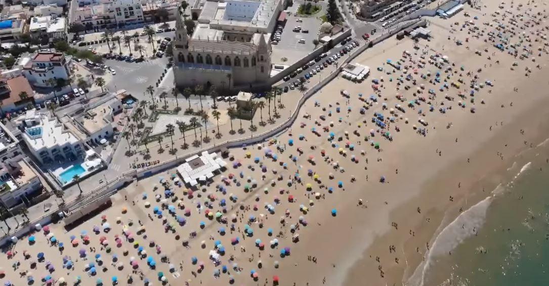 playa de Chipiona vista aerea